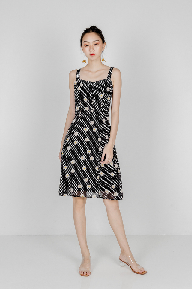 WINFRED BUTTON SKATER DRESS (BLACK POLKADOT)
