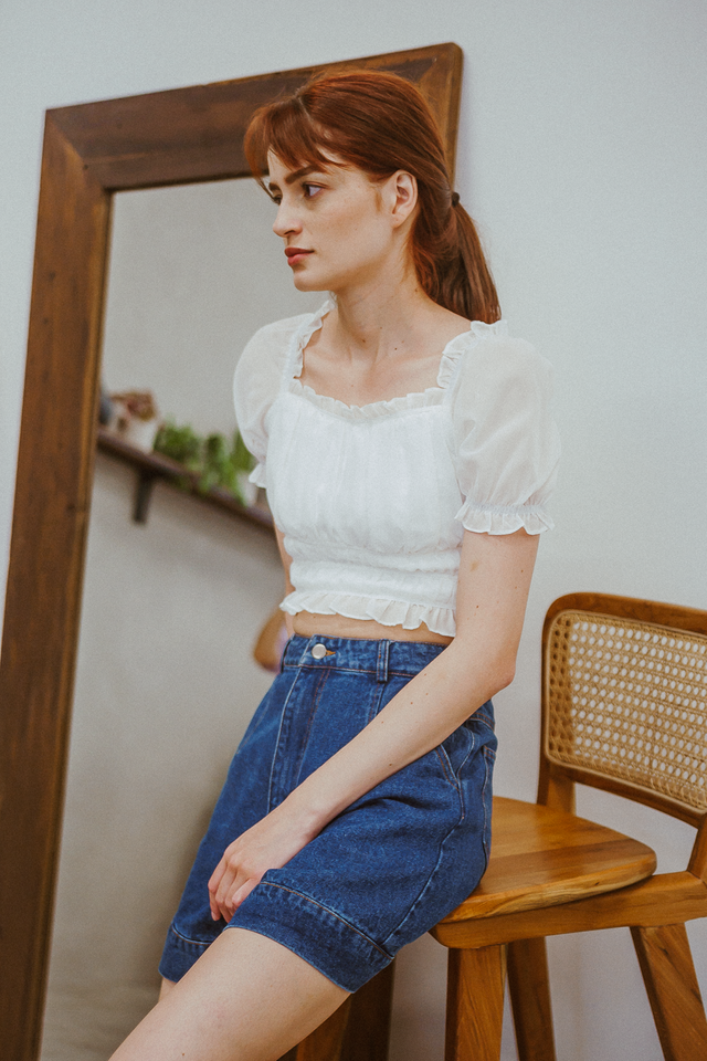LEIA RUCHED TOP (WHITE)
