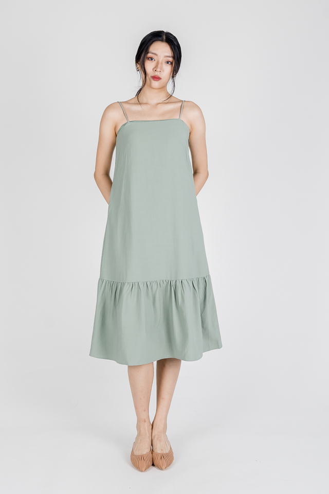TEREA CAMI RUFFLE MIDI DRESS (SAGE GREEN)