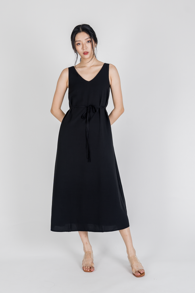 TALIA TWO WAY NECKLINE MAXI DRESS (BLACK)